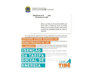 Deputado federal Luis Tibé propõe isenção de contas de energia para famílias beneficiadas com a tarifa social durante pandemia da Covid-19